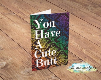 Cute Butt,  Valentine's Day Card, Digital Download, Print 'n' Go,  DIY without the DIY