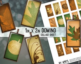 Fall Leaves Autumn Pumpkin 1x2 Domino Collage Sheet Digital Images for Domino Pendants Magnets Scrapbooking Journaling JPG D0037