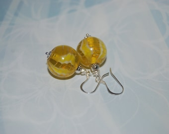 Yellow Round Glass Earrings