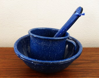 Blue Speckled Enamelware Bowls, Spoons And Mug