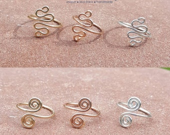 Toe Ring Midi Ring Knuckle Ring Sterling Silver 14K Gold Filled Rose Gold Spiral Or Wave Adjustable Toe Ring Handmade Artisan Jewelry