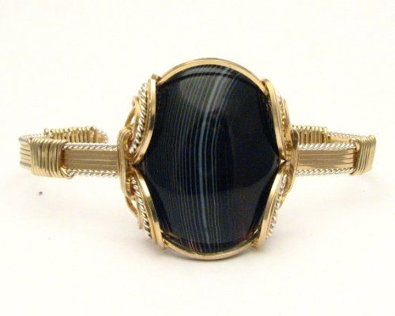Handmade Wire Wrap Two Tone Sterling Silver/14kt Gold Filled Onyx Bracelet