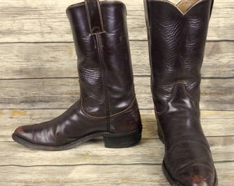 Justin Cowboy Boots Brown Leather Mens Size 9.5 B Narrow Western Rockabilly Vintage