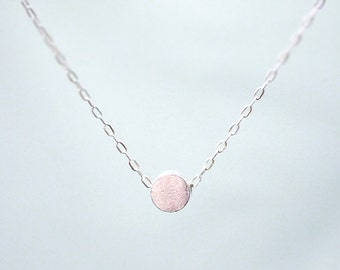 Silver circle dot necklace - tiny bead on sterling silver chain - minimal dainty jewelry