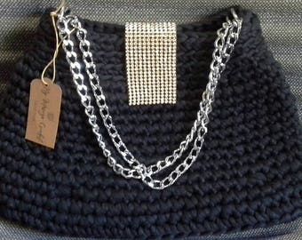 Black crochet bag,Crochet bags and purses,Crochet clutch purse,Crochet handbag,Evening clutch