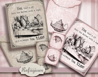 printable Tea Bag Envelope  Alice in Wonderland,Digital Collage Sheet,  INSTANT DOWNLOAD,