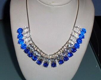 Prom Necklace Swarovski Crystal Sterling Silver Snake Chain Choker