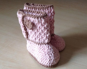 Crochet PATTERN Baby Boot Bootie & Hat Set N 281 Size Baby 0-6 and 6-12 months