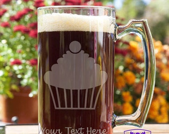 Cherry Topped Cupcake Customizable Etched Glass Beer Stein Mug Glassware Gift