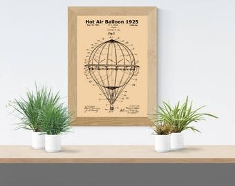 1925 Hot Air Balloon Patent Print,Hot Air Balloon Decoration,Hot Air Balloon Nursery,Hot Air Balloon Print,Hot Air Balloon Gift,PlayRoom Art