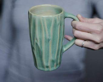 Green Pottery Mug, Coffee Gift, Gift For Mom, Irish Mug, Foodie Gift, Anniversary Gift, Husband Gift, Handmade Ceramic Mug, Pottery Mug