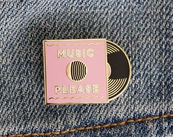 Music Please Vinyl Record Enamel Pin
