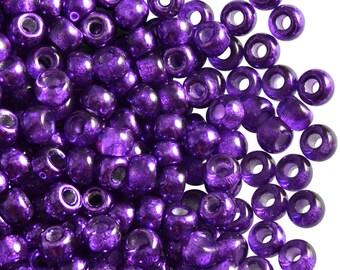 50pc Czech Glass Pressed Pony Beads 5.5mm, Large Hole, Semi-Apollo Purple (BG007)