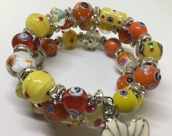 Bright, colourful , and whimsical Cuff Bracelet.