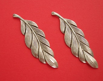 2-Antiqued Silver   Long Textured Leaf Pendant Charm no Hole.