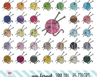 45 Doodle Knitting Clipart. Personal and comercial use.