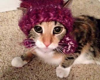 Crocheted Hat With Bow For Your Cat or Small Dog