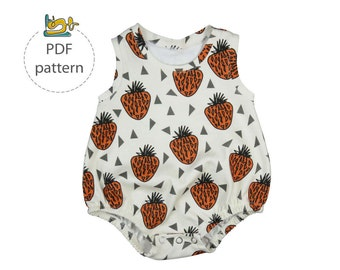 Baby romper sewing pattern, bubble onesie pattern, PDF, baby sunsuit pattern, bodysuit pattern,