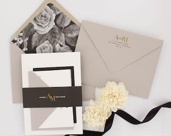 Wedding Invitations, Floral Wedding Invitation, Black and Gold, Roses, Modern, Urban Chic Wedding Invitation - Avery Sample