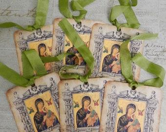 Religious Gift Tags Greek Orthodox Icon Gift Tags Seam Binding Ribbon Gift Tags Set  Theotokos