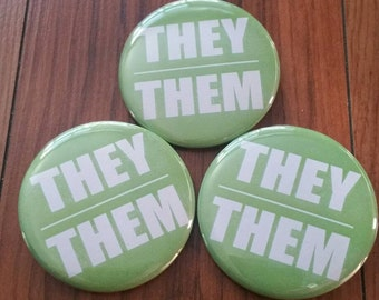 They Them 2.25 in pinback button set of 3