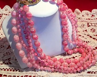 Selini Pink Torsade Necklace Ornate Clasp 1950's