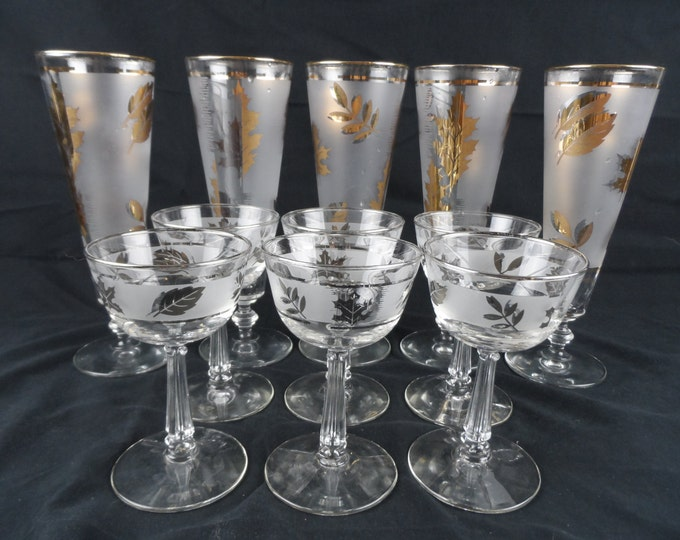 Libbey gold foliage pilsner style tall beer glasses, Silver Leaf Champagne Stem