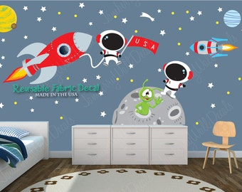 Space Wall Decal Space Stickers Astronaut Decal Space Decals Rocket Ship wall decal (Moon mission/Rocket mission) MMRM  sc 1 st  Etsy & Space Wall Decal with Astronaut Planets Rocket Wall Decal