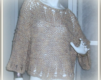 SWEATER WOMANS KNITTED Off White With Copper Colored Threads Good For The Holidays Bulky Chunky Oversized