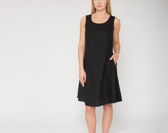 Sleeveless Black Linen Dress With Pockets