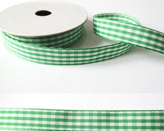 2 m x fancy 10mm Pine Green gingham Ribbon