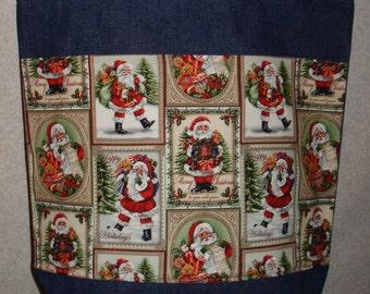New Handmade Large Santa Claus Squares Christmas Holiday Denim Tote Bag