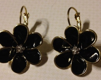 Black Enamel Flower Earrings with Rhinestone Center