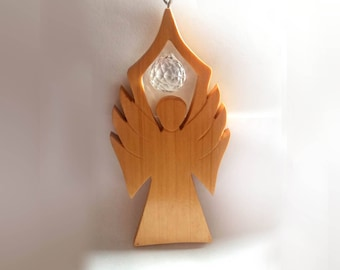 Angel (Wood) With Big Rhinestone, Handmade, Christmas Decoration, Glass Stone
