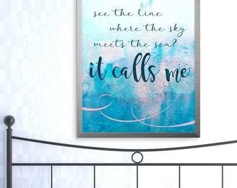 Disney Moana wall art decor; It Calls Me quote instant downloadable print