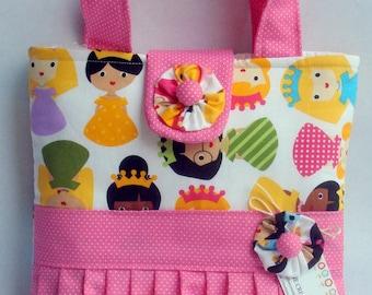 Girls Tote Bag Princess Friends Ruffled