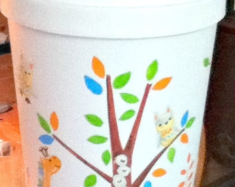 Hamper Owl and Tree Bedding Pattern Handpainted and Personalized