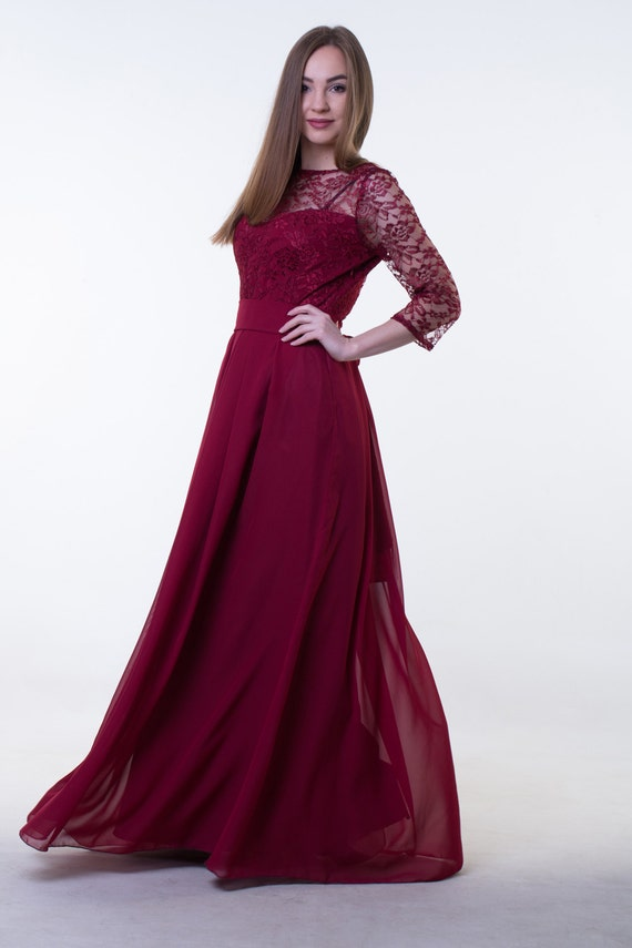 Wine Gown with Sleeves