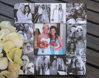 "Bridesmaid Collage Picture Frame, Personalized Sister Gift, Custom Collage Maid of Honor Frame, Best Friend Gift, Parent Gift, 8"" x 8"" Frame"