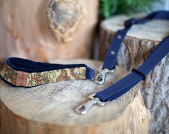 Paisley Handle and Adjustable Dog Leash. Handmade. MissFlo. Navy Bleu. Paisley.