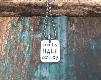 Running Necklace Only HALF Crazy Half Marathon Jewelry Great Gifts for Runners Motivational 13.1 Fitness Jewelry