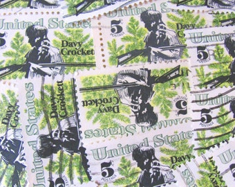 Davy Crockett 50 Vintage US Postage Stamps 5c Scott 1330 American Folklore Alamo TX Green Pine Needles Texas Trapper Americana Philately
