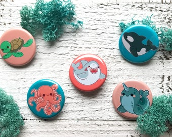 Kawaii Ocean Animals Pinback Buttons or Magnets