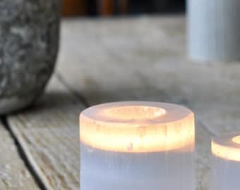 Crystal Selenite candle holder and 6 Tranquil t-lights