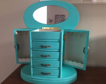 Large Jewelry armoire, jewelry box. solid, wood, tons of storage turquoise upcycled