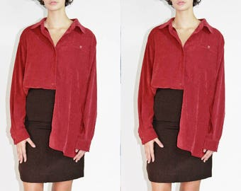 Soft Sueded Blouse / Cranberry Red Oversized Button Down / OS S M L XL Extra Large