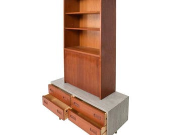 Danish Modern Cabinet with Hutch Teak