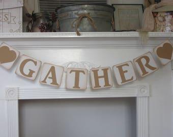 "Fall Banner ""Gather"" Banner Thanksgiving Banner"