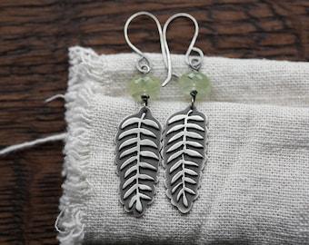 Fern Earrings ( soft green prehnite rondelle gemstones. antique sterling silver dangle earrings. fern silhouette. nature jewelry )