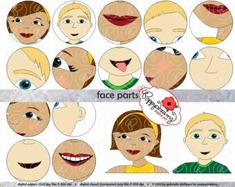 Face Parts Clipart Set (300 dpi) School Teacher Clip Art Science Anatomy Kindergarten Early Childhood
